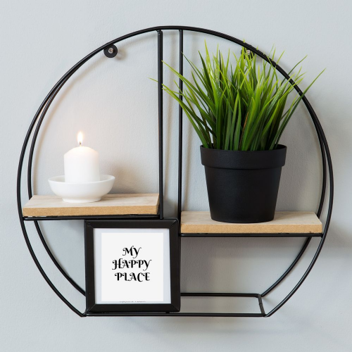 Round Metal Wall Shelf Plant Display Unit With Photo Frame